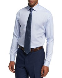 Armani Collezioni Textured Cotton Dress Shirt Blue