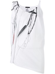 Ann Demeulemeester Sleeveless Feather And Chain Print Top Women Cotton 38 White