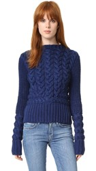 M.Patmos Haggerston Cable Crew Neck Sweater Navy