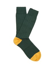 Pantherella Scott Nichol Oxford Ribbed Knit Socks Green