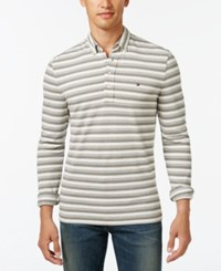 Tommy Hilfiger Men's Vanderbilt Striped Pique Long Sleeve Polo Frost Grey Heather