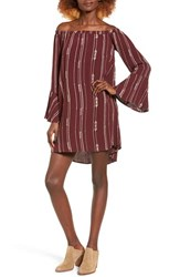 Lush Women's Embroidered Stripe Off The Shoulder Shift Dress Fig
