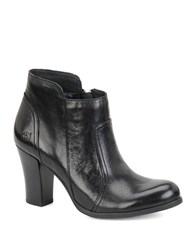 Born Claire Leather High Heel Ankle Boots Black