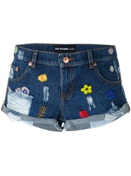 The Kooples Embroidered Denim Shorts Blue