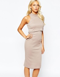 Love High Neck Dress In Rib Jersey Taupe