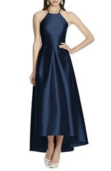 Alfred Sung Women's High Low Hem Sateen Halter Dress Midnight