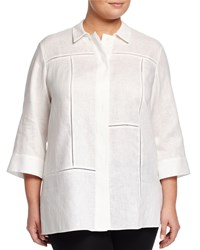 Lafayette 148 New York Plus Phoenix 3 4 Sleeve Linen Blouse White