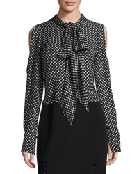 J. Mendel Polka Dot Cold Shoulder Blouse Black White Black White