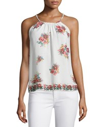 Joie Gris Floral Printed Sleeveless Top Porcelain