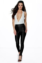 Boohoo High Waist Wet Look Leggings Black
