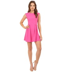 Brigitte Bailey Delaney Cap Sleeve Pleated Dress Fuchsia Women's Dress Pink