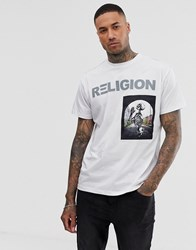 Religion T Shirt With Skeleton Patch In White