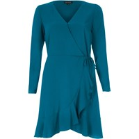 River Island Womens Teal Blue Ruffle Hem Long Sleeve Wrap Dress