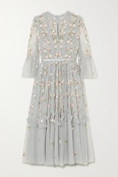 Needle And Thread Wallflower Ruffled Embellished Embroidered Tulle Dress Sky Blue