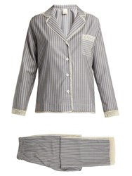 Morpho Luna Ines Lace Trimmed Wool Flannel Pyjama Set Grey Stripe