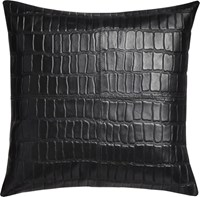 Cb2 Black Leather Croco 16 Pillow With Feather Insert
