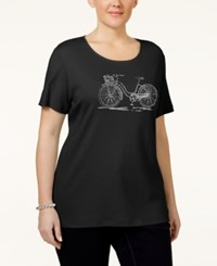 Karen Scott Plus Size Embellished Graphic T Shirt Only At Macy's Deep Black