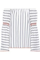 Charli Woman Nelia Off The Shoulder Striped Jacquard Top Off White Off White