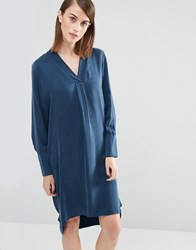 Selected Brooke Tunic Dress In Silk Dark Sapphire Navy