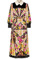 Gucci Velvet Trimmed Pleated Floral Print Silk Twill Maxi Dress Pink