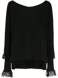 Taylor Ribbed Boat Neck Jumper Black