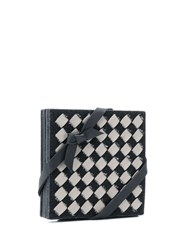 Bottega Veneta Intrecciato Checker Coasters Set Grey