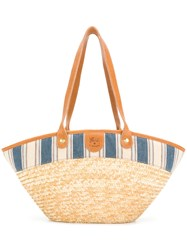 Il Bisonte Striped Poplin Trim Tote Nude And Neutrals