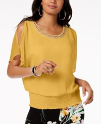 Thalia Sodi Embellished Strappy V Back Top Cornmeal Yellow