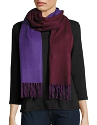Lord And Taylor Reversible Fringed Wrap Or Scarf Purple