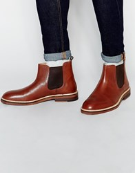 Asos Chelsea Boots In Tan Leather With Chunky Sole Tan