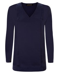 Jaeger Silk Pleat Front Tunic Navy
