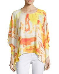 Joan Vass Tacked Side Graphic Poncho Top Multi Pattern