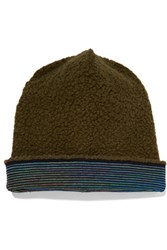 M Missoni Wool Blend Boucle Beanie Army Green