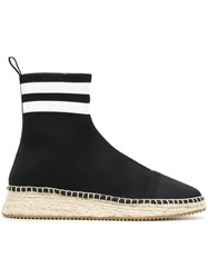Alexander Wang High Ankle Sock Espadrilles Leather Cotton Rubber Black