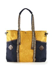 Topman Multi Yellow And Navy Waxed Cotton Holdall Bag