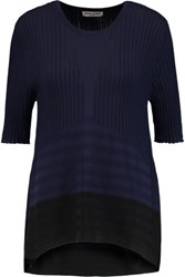 Opening Ceremony Linear Delta Two Tone Ribbed Stretch Knit Top Midnight Blue