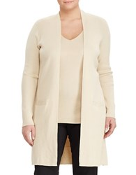 Lauren Ralph Lauren Plus Elongated Cardigan Natural Tan