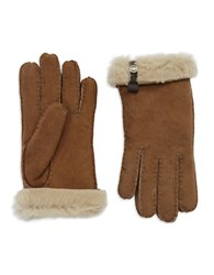 Ugg Leather Trim And Shearling Cuff Tenney Gloves Chestnut