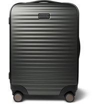 Ermenegildo Zegna Leather Trimmed Polycarbonate Carry On Suitcase Gray