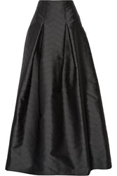 Alexis Sury Perforated Satin Twill Maxi Skirt Black