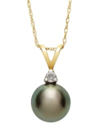 Macy's Tahitian Pearl 8Mm And Diamond Accent Pendant Necklace In 14K Gold Gray