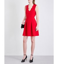 Claudie Pierlot Red Crepe Mini Dress Ruby