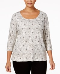 Charter Club Plus Size Printed Top Only At Macy's Cloud Combo