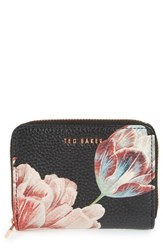 Ted Baker London Joannaa Tranquility Print Leather Zip Coin Purse Black