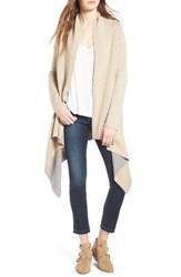 Love By Design Women's Two Tone Open Front Cardigan Oatmeal