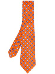 Kiton Floral Print Tie Men Silk One Size Yellow Orange