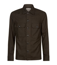 Sandro Army Flannel Shirt Male Brown
