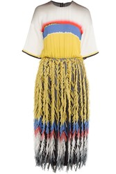 Marco De Vincenzo Fringed Silk Dress Multicolor