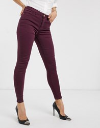Vila Skinny Jeans In Wine Red