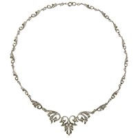 Eclectica Vintage 1950S Rhodium Plated Marcasite Scroll Necklace Silver